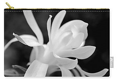 Star Magnolia Flower Black And White Carry-all Pouch