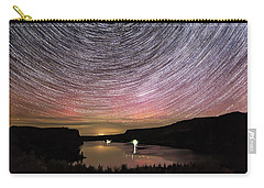 Carry-all Pouch featuring the photograph Star Trails And Aurora At Billy Chinook by Cat Connor