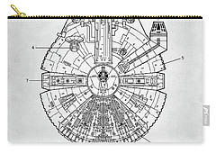 Carry-all Pouch featuring the digital art Star Wars Millennium Falcon Patent by Taylan Apukovska