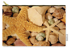 Carry-all Pouch featuring the photograph Starfish And Seashells by Angie Tirado