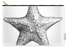 Carry-all Pouch featuring the drawing Starfish Drawing Black And White Sea Star by Karen Whitworth
