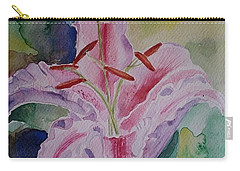 Stargazer Lily Watercolor Still Life Gift  Carry-all Pouch by Geeta Biswas