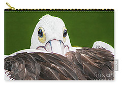 Carry-all Pouch featuring the digital art Staring Pelican by Ray Shiu