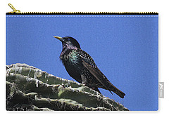 Carry-all Pouch featuring the photograph Starling On Saguaro Arm by Tom Janca