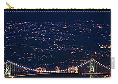 Carry-all Pouch featuring the photograph Starry Lions Gate Bridge - Mdxxxii By Amyn Nasser by Amyn Nasser