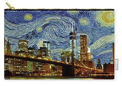 Starry Night Brooklyn Bridge Carry-all Pouch by Movie Poster Prints