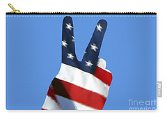 Carry-all Pouch featuring the photograph Stars And Stripes Peace Sign .png by Al Powell Photography USA