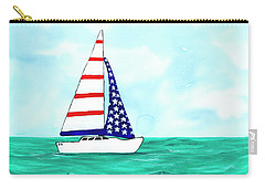 Carry-all Pouch featuring the painting Stars And Strips Sailboat by Darice Machel McGuire