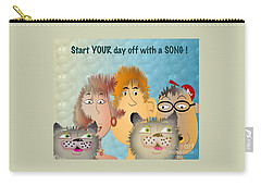 Carry-all Pouch featuring the digital art Start Off Your Day With A Song by Iris Gelbart