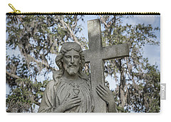 Carry-all Pouch featuring the photograph Statue Of Jesus And Cross by Kim Hojnacki