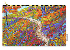 Stay On The Path - Modern Impressionist, Landscape Painting, Oil Palette Knife Carry-all Pouch