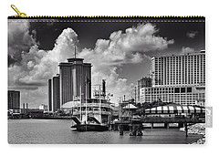 Steamboat And Big Buildings In Black And White Carry-all Pouch