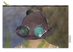 Steampunk Beauty With Hat And Goggles - Square Carry-all Pouch by Betty Denise