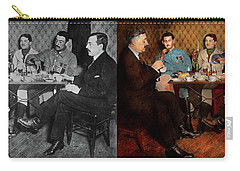 Carry-all Pouch featuring the photograph Steampunk - Bionic Three Having Tea 1917 - Side By Side by Mike Savad