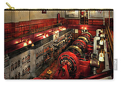 Carry-all Pouch featuring the photograph Steampunk - The Engine Room 1974 by Mike Savad