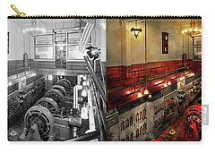 Carry-all Pouch featuring the photograph Steampunk - The Engine Room 1974 - Side By Side by Mike Savad