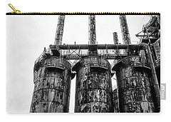 Steel Stacks - The Bethehem Steel Mill In Black And White Carry-all Pouch by Bill Cannon