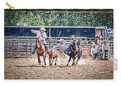 Carry-all Pouch featuring the photograph Steer Wrestling With An Audience by Darcy Michaelchuk