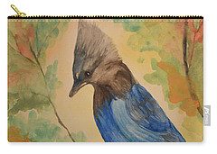 Carry-all Pouch featuring the painting Stellar Jay - Autumn #3 by Maria Urso