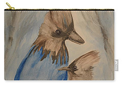 Carry-all Pouch featuring the painting Stellar Jay - Winter #4 by Maria Urso