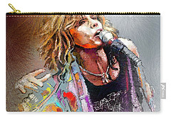 Steven Tyler 02  Aerosmith Carry-all Pouch by Miki De Goodaboom