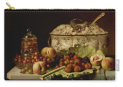 Still Life  Fruit And Dishes  Late 19th Century Oil On Panel Gottfried Schultz  German  1842  1919 Carry-all Pouch