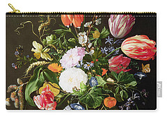 Still Life Of Flowers Carry-all Pouch by Jan Davidsz de Heem