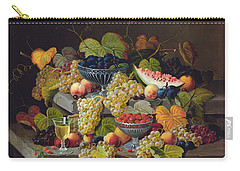 Still Life Of Melon Plums Grapes Cherries Strawberries On Stone Ledge Carry-all Pouch by Severin Roesen