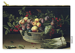 Still Life With A Basket Of Fruit And A Bunch Of Asparagus Carry-all Pouch