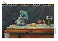 Carry-all Pouch featuring the painting Still Life With A Chameleon by Maja Sokolowska