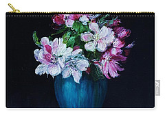 Still Life With Apple Tree Flowers In A Blue Vase Carry-all Pouch