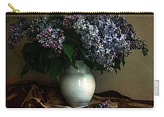 Carry-all Pouch featuring the photograph Still Life With Bouqet Of Fresh Lilac by Jaroslaw Blaminsky