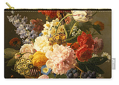 Still Life With Flowers And Fruit Carry-all Pouch by Jan Frans van Dael