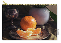 Still Life With Fresh Flowers And Tangerines Carry-all Pouch by Jaroslaw Blaminsky