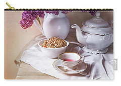 Carry-all Pouch featuring the photograph Still Life With Fresh Lilac And China Pots by Jaroslaw Blaminsky