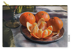 Still Life With Fresh Tangerines And Oil Lamp Carry-all Pouch by Jaroslaw Blaminsky