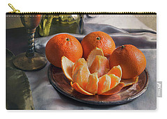 Carry-all Pouch featuring the photograph Still Life With Fresh Tangerines by Jaroslaw Blaminsky