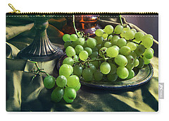 Carry-all Pouch featuring the photograph Still Life With Green Grapes by Jaroslaw Blaminsky