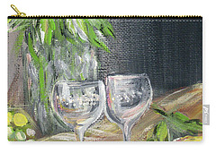 Still Life With Lemons, Roses  And Grapes. Painting Carry-all Pouch