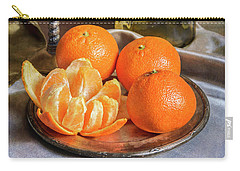 Carry-all Pouch featuring the photograph Still Life With Oil Lamp And Fresh Tangerines by Jaroslaw Blaminsky