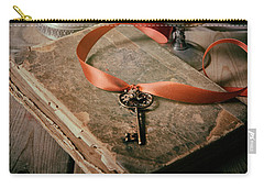 Carry-all Pouch featuring the photograph Still Life With Old Book And Metal Dishes by Jaroslaw Blaminsky