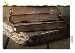 Carry-all Pouch featuring the photograph Still Life With Old Books And Fresh Pear by Jaroslaw Blaminsky