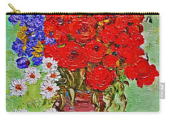 Still Life With Poppies And Blue Flowers Carry-all Pouch