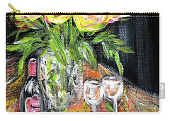 Still Life With Roses, Fruits, Wine. Painting Carry-all Pouch