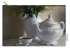 Still Life With White Tea Set And Bouquet Of White Flowers Carry-all Pouch