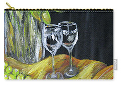 Still Life With Wine Glasses, Roses And Fruit. Painting Carry-all Pouch