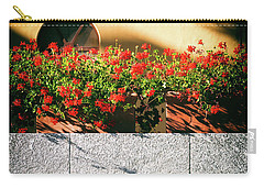 Carry-all Pouch featuring the photograph Stone Bench With Flowers by Silvia Ganora