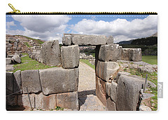 Stone Doorway At Sacsaywaman Carry-all Pouch by Aidan Moran