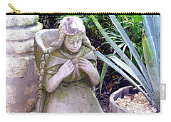 Carry-all Pouch featuring the photograph Stone Girl With Basket And Plants by Francesca Mackenney