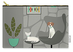 Stone Wall With Dog And Cat Carry-all Pouch